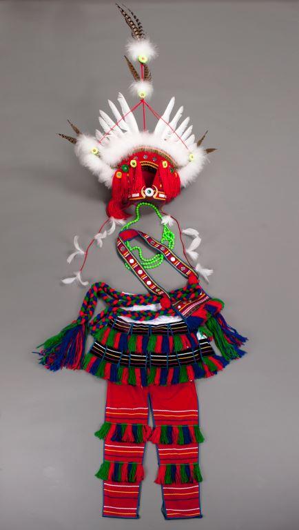 羽毛、毛線、亮片、塑膠串珠、棉、麻、山豬牙、竹條、人造纖維